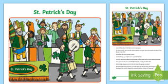St. Patrick's Day Oral Language Activity Sheet - Oral Language Activity Sheets, talk and discussion, listening skills, talk about the picture, Saint