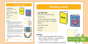 Greeting Cards Activity - author, card, greetings, happy, fine motor skills, cut and paste.,Australia