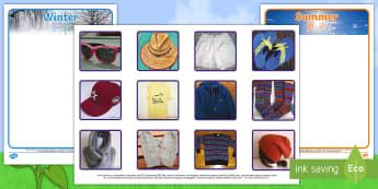 Photo Summer and Winter Clothes Sorting Activity - English/Mandarin Chinese - Photo Summer and Winter Clothes Sorting Activity - sorting, activity, photo, summer, winter, clothes