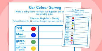 Car Colour Survey Romanian Translation -  roads, cars, transport, vehicle, counting, survey, data, handling