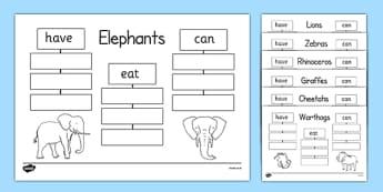 Safari Animals Have Eat Can Writing Frames - safari animals, have, eat, can, writing frames