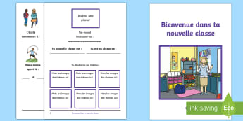 Livret : Bienvenue dans ta nouvelle classe - Rentrée scolaire, accueil, nouveau, changement,instituteur,French