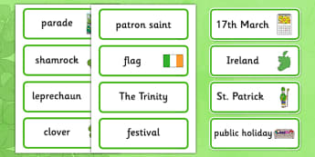 St. Patrick's Day Word Cards - Word cards, St Patricks Day, Word Card, flashcard, flashcards, Ireland, Irish, St Patrick, patron saint, leprechaun, 17 march