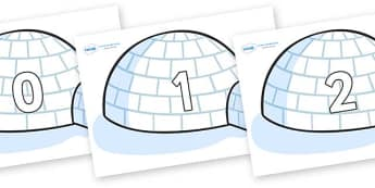 Numbers 0-31 on Igloos - 0-31, foundation stage numeracy, Number recognition, Number flashcards, counting, number frieze, Display numbers, number posters