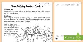 Sun Safety Poster Design Activity Sheet - Amazing Fact Of The Day, amazing fact a day april, activity sheets,Worksheet, powerpoint, starter, m