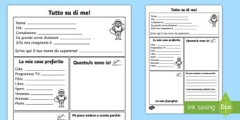 Tutto su di Me Attività - tutto, su, di, me, italiano, italian, attività, presentazione, primo, giorno, di, scuola, nuova, sc