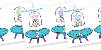 Number Bonds to 10 Matching Cards (Aliens) - Number Bonds, Space, Matching Cards, Number Bonds to ten, counting, number recognition