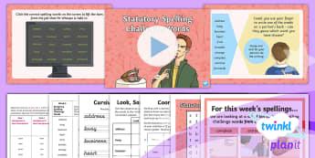 PlanIt Spelling Year 3 Term 2B W6: Statutory Spelling Challenge Words Spelling Pack - Spellings Year 3, Y3, spelling, spell, spag, gps, statutory, common exception words,