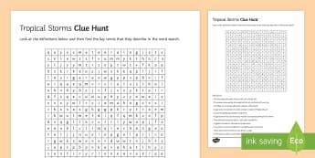 Tropical Storms Clue Hunt Activity Sheet - cyclone, climate, change, typhoon, developing, countries worksheet