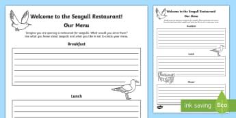 A Restaurant for Seagulls Activity Sheet - Science Week, 10/03/17, seagulls, coast wildlife, sea, menu, restaurant, World Around Us, Literacy.