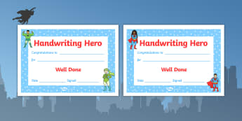 Handwriting Hero Certificate Boys Girls - handwriting hero, certificate, boys, girls, handwriting, hero