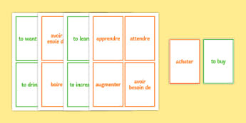 100 High Frequency French Verbs Pair Cards-French