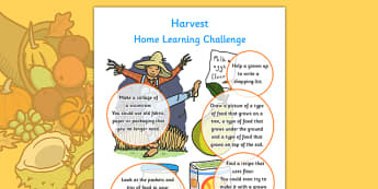 Harvest Home Learning Challenge Sheet Reception FS2 -homework, early years, activity, topic