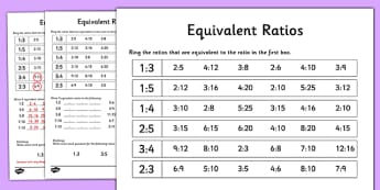 Equivalent Ratios Activity Sheet - equivalent ratios, activity, sheet, equivalent, sheet, worksheet
