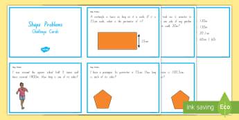 Shape Word Problems Challenge Cards -  Geometry, 2D shapes, 3D shapes, Word Problems, maths home learning tasks, maths homework, challenge