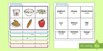 Healthy Eating Food Bingo English/Polish - Healthy Eating Food Bingo - bingo, game, activity, eating healthy, healthy, food, food bingo, carrot