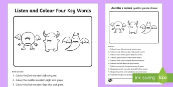 Listen and Colour 4 Key Words Activity Sheet English/Italian - listening, receptive language, ICW, information carrying word, attention, SLCN, language delay, lang