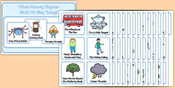 Nursery Rhyme Choosing Cards - Nursery rhyme, choosing cards, humpty dumpty, three blind mice, jack and jill, hickory dickory clock, twinkl twinkl little star