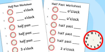 Half Past Worksheet - half past, worksheet, half, past, time