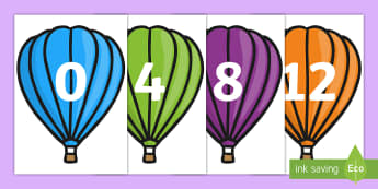Counting in 4s on Hot-Air Balloons (Plain) Display Cut-Outs - Numberline, Number line, fours, multiples of 4, Counting on, Counting back, even numbers, foundation