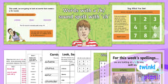 PlanIt Y3 Term 2A W6: Words with a /k/ Sound Spelt with ch Spelling Pack - Spellings Year 3, Y3, spellings, pack, weekly, lists, tests, ch, k, SPaG, GPS, , gpas