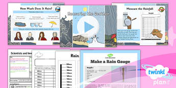 PlanIt - Science Year 1 - Scientists and Inventors Lesson 4: Measuring the Weather Lesson Pack - rain, rain gauge, forecast, rainfall, bar chart