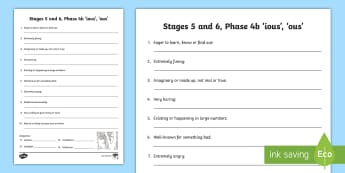 Northern Ireland Literacy Linguistic Phonics Stage 5 and 6, Phase 4b Activity Sheet - NI, Linguistic Phonics, Stage 5, Stage 6, Phase 4b, Northern Ireland, 'ious', 'ous', word work