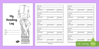 My Reading Log Booklet - novel, book, reading, reading log, book rating, star rating, english, worksheet, activity sheet, boo