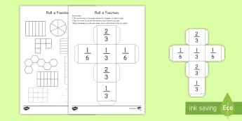 Roll a Fraction: Third, Two Thirds, Sixth Activity - fractions, game, dice, activity, learning, math