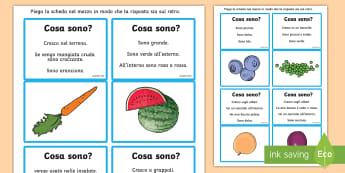 Indovina quale frutta o verdura sono? Attività - comprensione, del, testo, domande, risposte, indovina, suggerimenti, frutta, verdura, alimentazione,