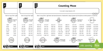 Counting Maze Activity Sheet - Number and Place Value, worksheet