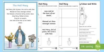 The Hail Mary  Activity Pack-Australia - CfE Catholic Christianity, prayers, mass responses, The Hail Mary, Our Lady,Australia