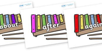 KS1 Keywords on Glockenspiels - KS1, CLL, Communication language and literacy, Display, Key words, high frequency words, foundation stage literacy, DfES Letters and Sounds, Letters and Sounds, spelling