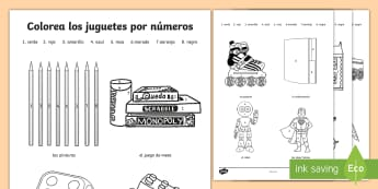 Toys Colour by Number Spanish - Spanish, KS2, toys, colour, number, worksheet, activity sheet, languages, juguetes