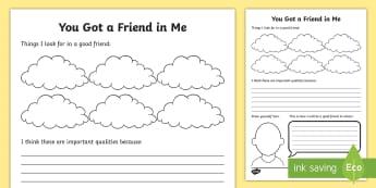 You Got a Friend in Me Activity Sheet - friends, qualities, teamwork, worksheet, relationships, new class, transition, PSCHE