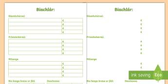 Biachlár Blank Writing Template Gaeilge - Biachlár, Bia, template, blank, bialann, menu,Irish