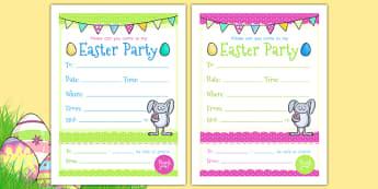 Cartes d'invitation : La fête de Pâques - Anglais LV