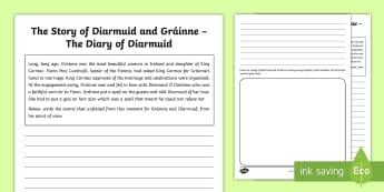 The Story of Diarmuid and Gráinne The Diary of Diarmuid Activity Sheet - Myths, Legends, Irish Tales, Celtic, The Fianna,Irish, worksheet