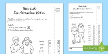 Wortarten: Verben Test - Sommer, Wortarten, Verben, Kl.1/2, summer, words, verbs, EYFS/KS1,German