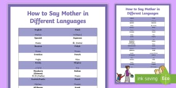 How to Say Mother in Different Languages Large Display Poster - Canada Mother's Day, 14th May, Mom, celebrations, events, language, primary grades, junior grades,