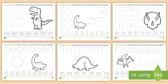 Esercizio del controllo del tratto con i dinosauri Attività - motricità, controllo, tratto, scrivere, matita, penna, dinosauri, italiano,italian, materiale, scol