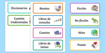 Book Corner Library Labels-Spanish