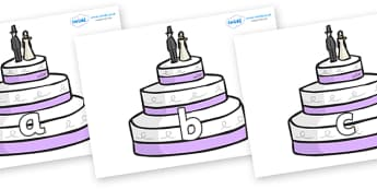 Phase 2 Phonemes on Wedding Cakes - Phonemes, phoneme, Phase 2, Phase two, Foundation, Literacy, Letters and Sounds, DfES, display