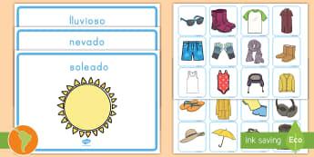Tarjetas de emperejar: La ropa y el tiempo - Weather Clothes Sorting Activity - clothes sorting activity, weather and the seasons, clothes, weath