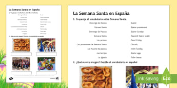 Easter in Spain Activity Sheet Spanish - Spring, Easter, KS3, Spanish, Spain, activity, sheet, worksheet.