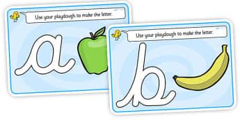 Alphabet Playdough Mats (cursive) - Playdough mat, playdough resources, literacy, alphabet, letters, playdough