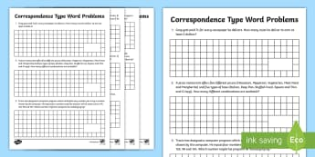 Correspondence Type Word Problems Activity Sheets - Year 3, Year 4, maths, mathematics, numeracy, activity sheet, worksheets, fast finisher, problem sol