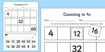 Counting in 4s Cut and Stick Activity Sheet - counting, count, cut and stick, activity, 4s, worksheet