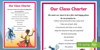 Class Charter Superhero Themed Display Poster - Behaviour, Management, Sign, KS2, Organise, Self-control, rules, classroom management