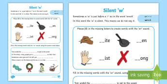 Silent W Activity Sheet - alternative, alternate, sound, missing letters, pattern, worksheet